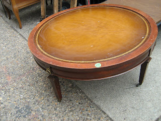 Leather Top Round Coffee Table   $45 REDUCED