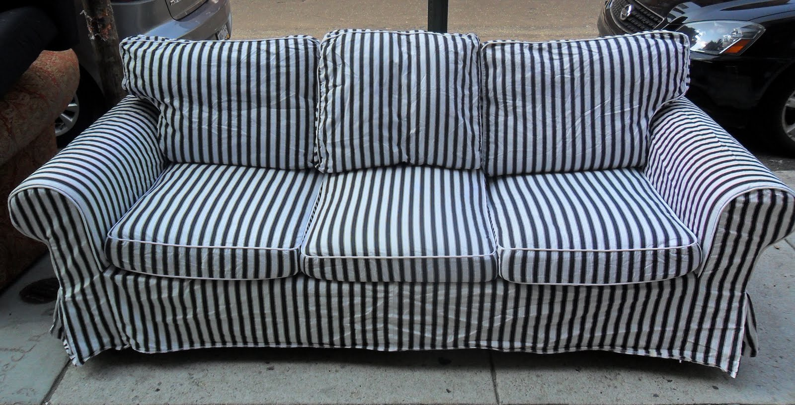 Blue And White Striped Sofa
