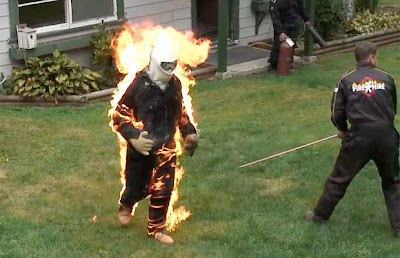 Colin Decker photo, Longest full-body burn video, Vancouver stunman full-body burn picture, Colin Decker Guinness World Record, Longest full-body burn without oxygen