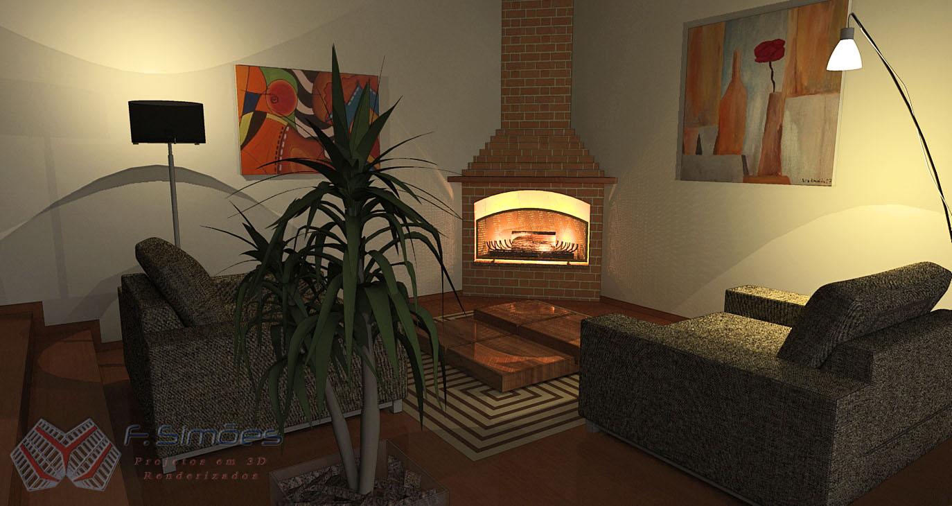 Lareira Para Sala De Tv ~ Simões  Projetos 3D Renderizados Sala com Lareira de Canto