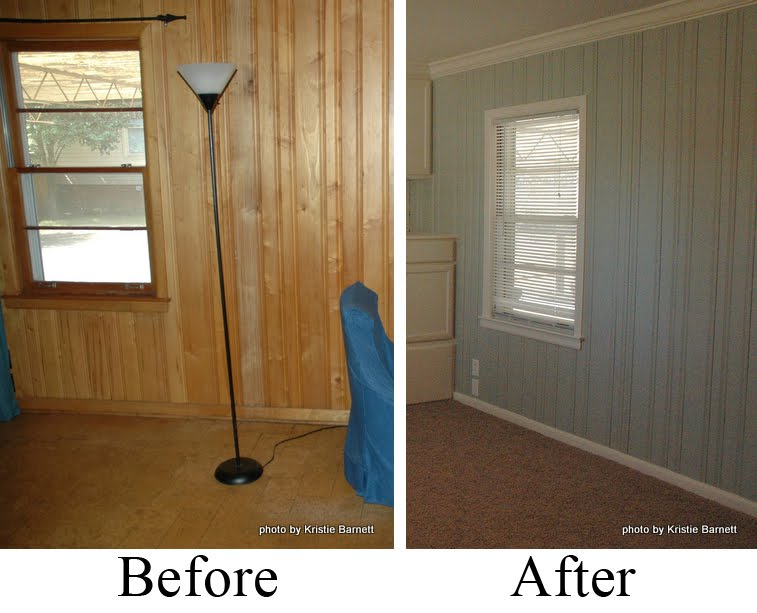 painting over wood paneling before and after