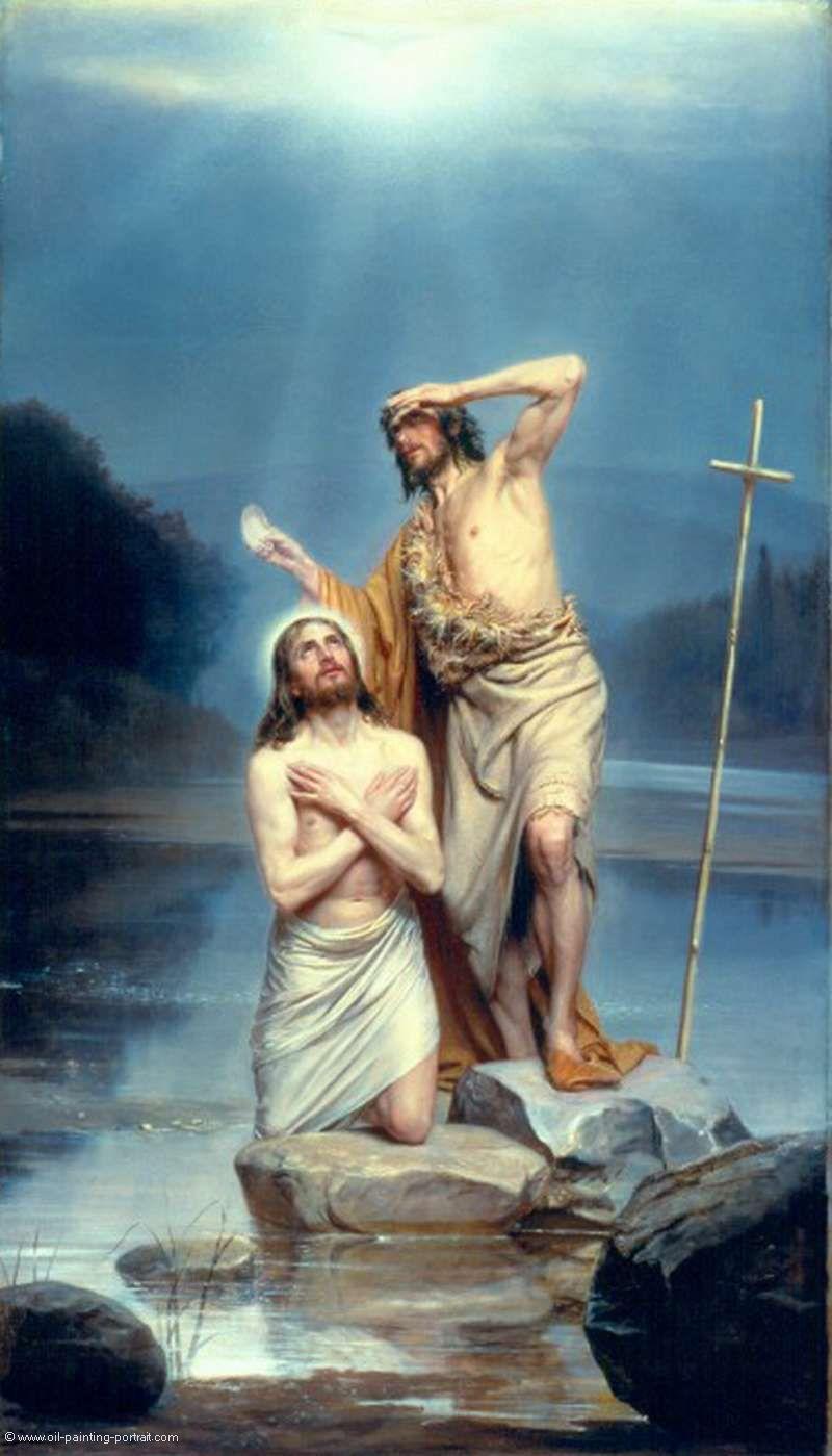 Pintura. Autor: Carl Bloch. Titulo: El bautismo de Cristo
