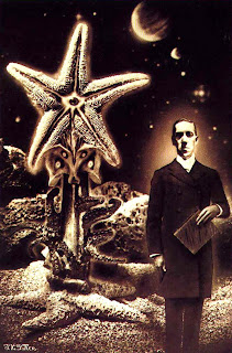 H P Lovecraft, manuscript, and elder god