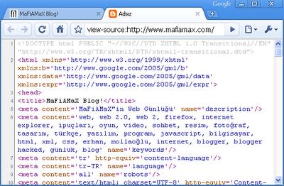 Chrome sayfa kaynağını gösterme aracı