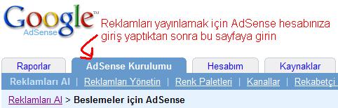 RSS yayınında AdSense