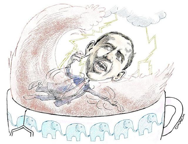 El presidente de Los Estados Unidos Barack Obama nadando en una taza de té