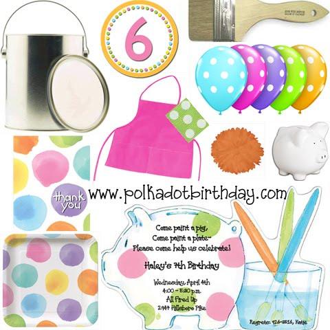 Polka dot pottery painting party polka dot birthday for Polka dot party ideas