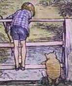 E.H.Shepard - Christopher Robin and Pooh play Poohsticks
