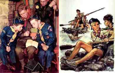 Norman Rockwell - The Right Way (1955) and Pierre Joubert - Scouts Rafting