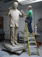 Ian Walters working on his statue of Nelson Mandela