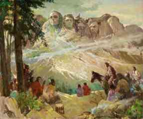 Charles W. Hargens - Mount Rushmore with the tribe of Native Americans