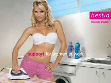 Nicollette Sheridan posing for Hestia bra advertisement