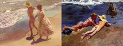 Joaquín Sorolla - left: Al Agua; right: Sulla Spiaggia, Valencia Beach (both 1908)
