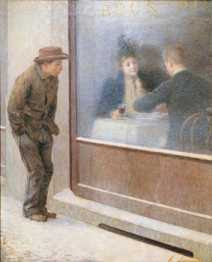 Emilio Longoni - Reflections of a Hungry Man or Social Contrasts (1894)
