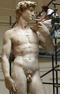 Michelangelo's David being restored (2004)