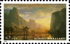 Albert Bierstadt - Valley of the Yosemite (1864) on US Stamp (2008)