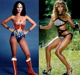 Lynda Carter as Wonder Woman and Beyonce Knowles as Herself