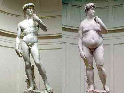 Michelangelo's David, before and after Christmas Pud (2008)