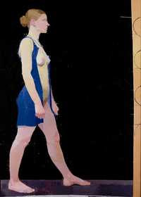 Euan Uglow - Striding Nude, Blue Dress (1972)