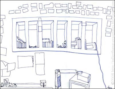 sketch of my room in the studio