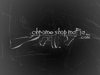 The Chrome Shop Mafia's silver on black logo