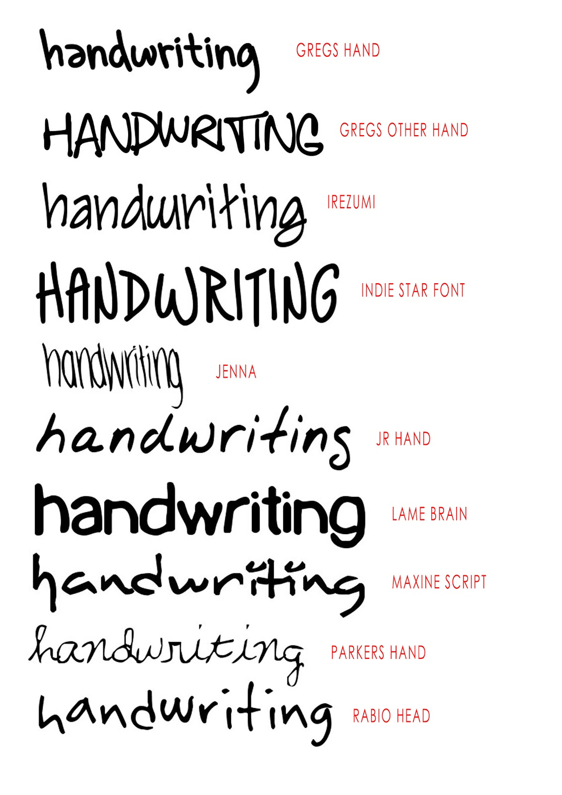 Design context handwriting fonts Word font styles