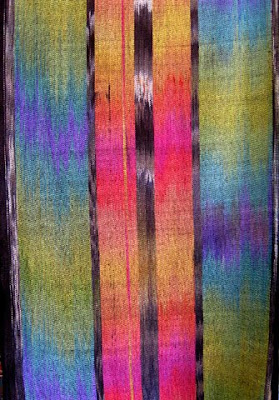 Ikat painted warp silk weaving