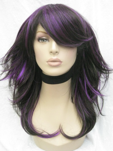 black hair with purple highlights. lack hair with blue