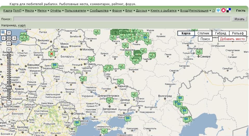 все рыболовные места на одной карте краснодар