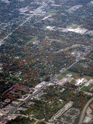 Fall Colors from the air over the city of Indianapolis