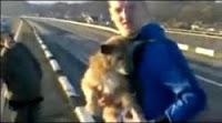 Butta un cane dal ponte e si fa riprendere: chi è il vero animale?