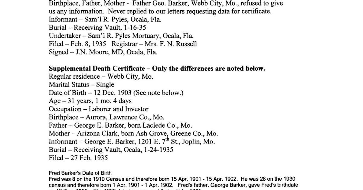Arizona Clark Aka Ma Barker Her Genealogy Fred Barkers Death