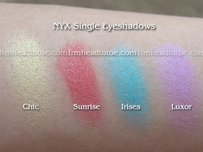Swatches of Single Eyeshadows in Chic, Sunrise, Irises, and Luxor