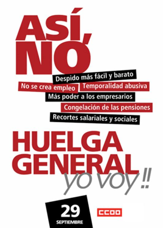 Huelga General 29-S Cartel+29S-CCOO