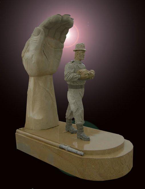 Bombeiro voluntário.Escultura em granito
