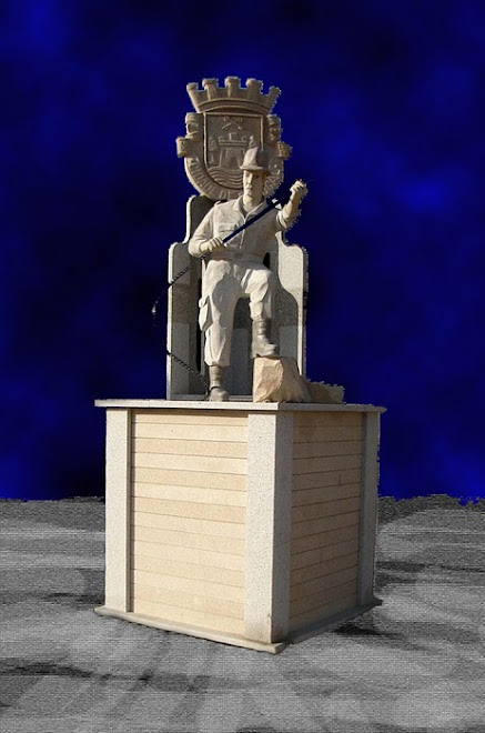 Bombeiro voluntário,Escultura com diversos tipos de granitos