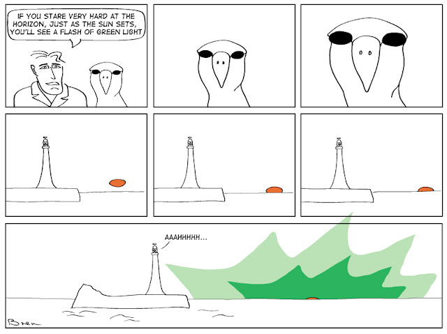 cartoon,gag cartoon,funny,cartoon strip,comic strip,Humboldt,albatross,lighthouse,lighthouse keeper,sea,marine,bird, green flash sunset, atmospheric physics