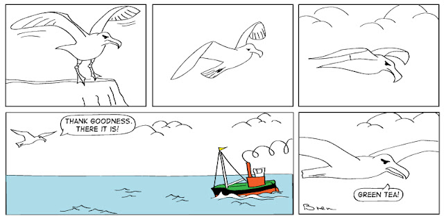 cartoon,gag cartoon,funny,cartoon strip,carton strip,comic strip,Humboldt,albatross,lighthouse,lighthouse keeper,sea,marine,bird,puffer,boat,coastal steamer,green tea