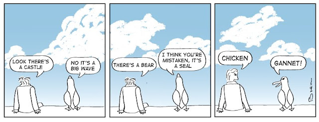 cartoon,gag cartoon,funny,cartoon strip,carton strip,comic strip,Humboldt,albatross,lighthouse,lighthouse keeper,sea,marine,bird,clouds,animals,castle in clouds,bear,chicken