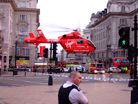 Air ambulance lifting off