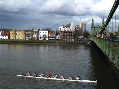 Head of the River race passing underneath Hammersmith Bridge