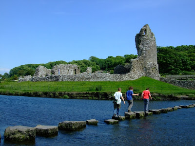 Stepping-stones in front of Ogmore Castle ruins