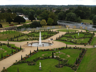 Looking down on the formal gardens