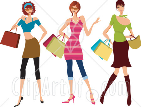 clip art woman shopping