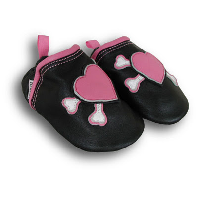 Pink Hearts & Crossbone Baby Shoes