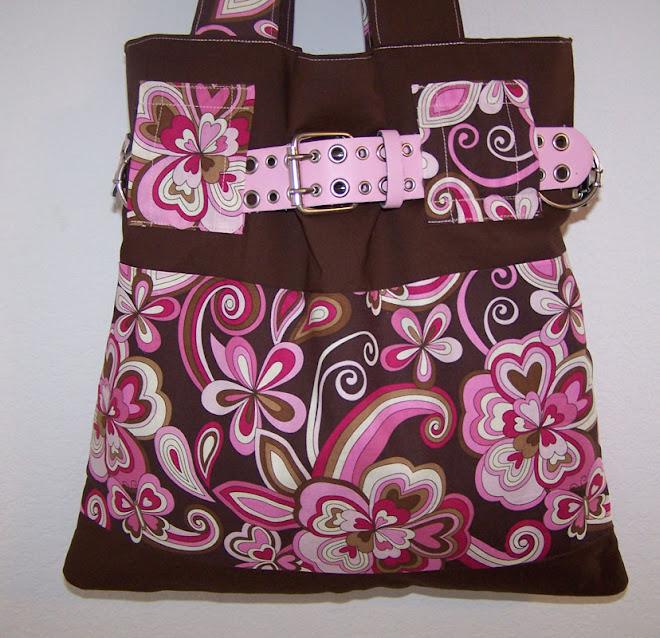 Handmade Purse Handbag Swirly Pink Butterflies, Hearts, Flowers