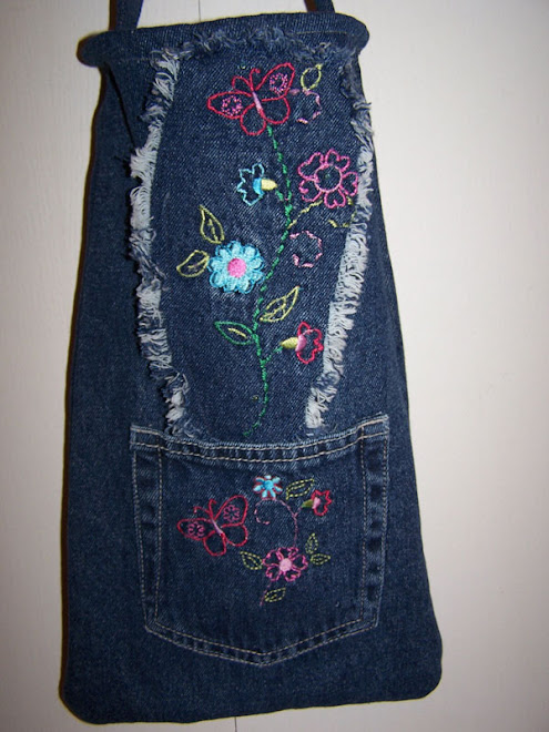 Girls Denim Jean Handbag Purse Pocket Embroidered Flowers
