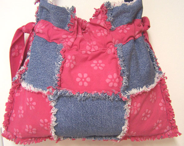 Drawstring Denim Ragged Tote Bag Purse Pink Daisy Flowers