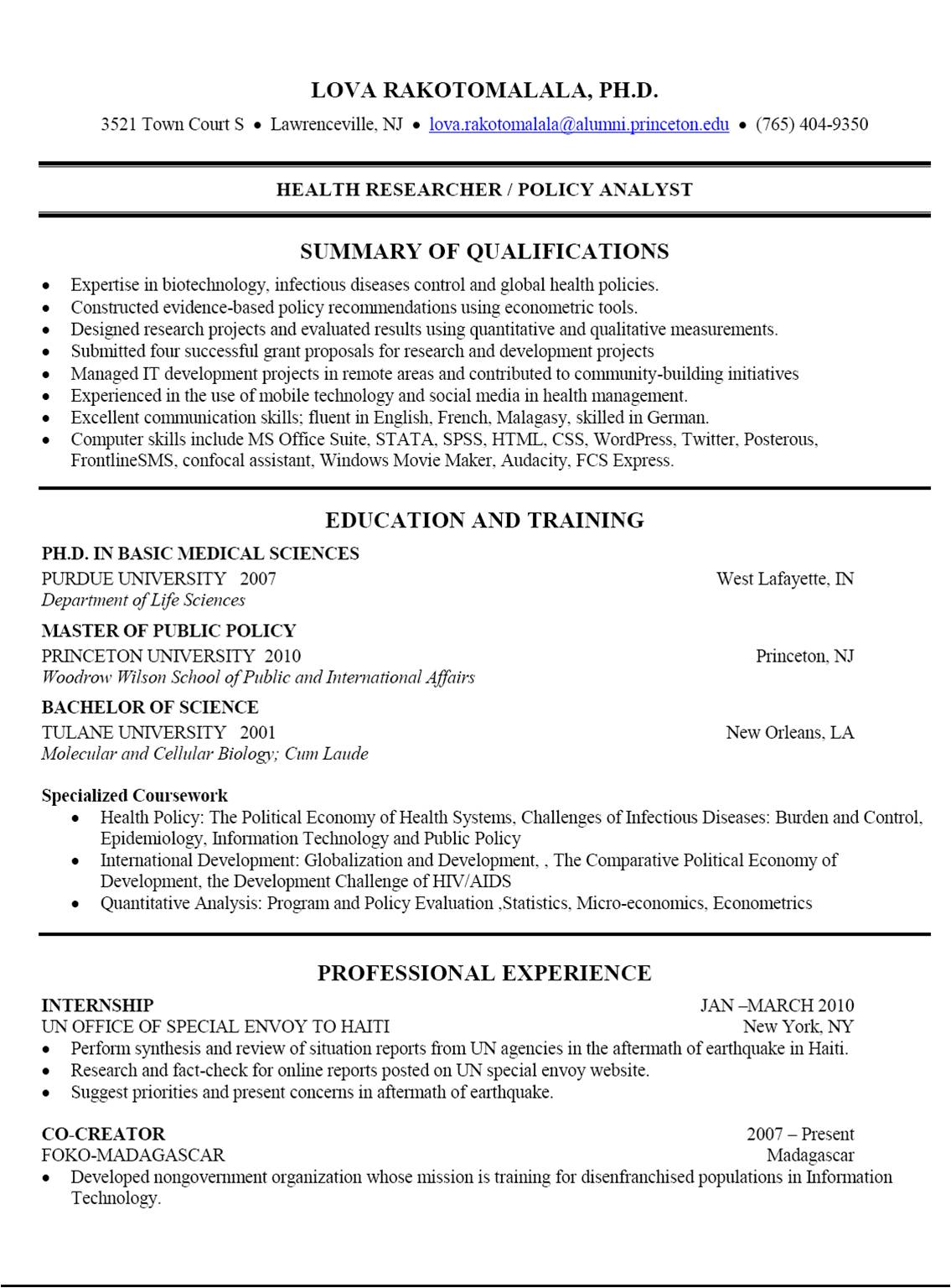 resume cv profile