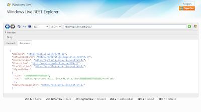 Windows Live REST Explorer 4